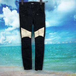 """Hudson Black White Moto Jeans Girls 8 x 24"""" Super"""